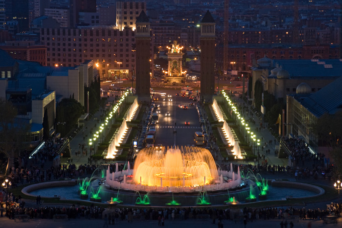 Magische fontein in Barcelona, Spanje