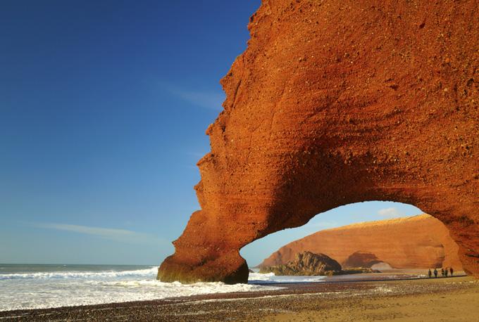 De kust van Legzira, Marokko