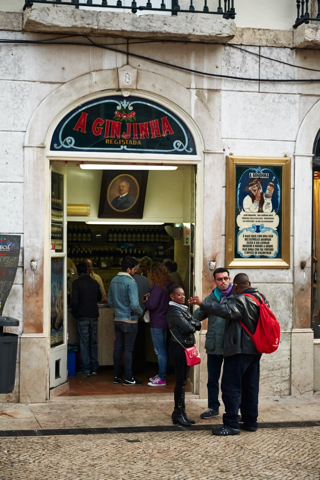 A Ginjinha bar op plein Rossio in Lissabon