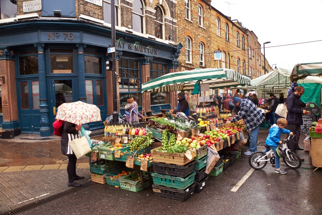 groenten- en fruitstalletje op de Broadway Market