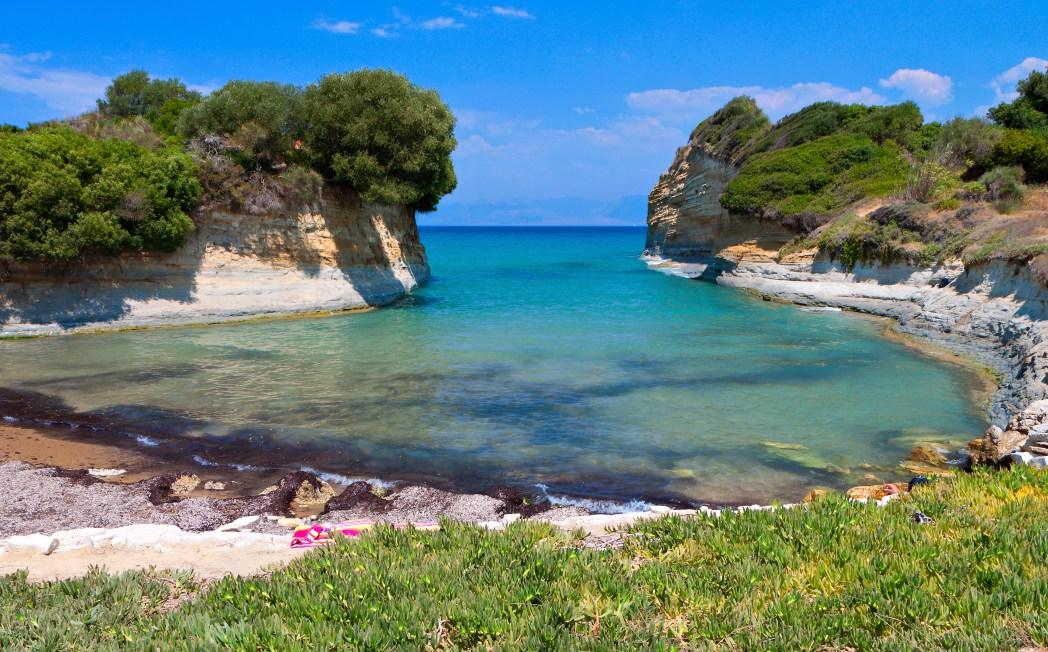 Afgelegen inham en baai, Corfu