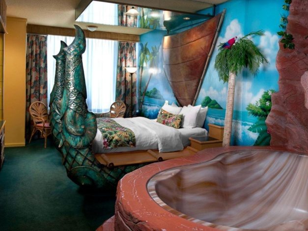 Polynesische kamer in het Canadese hotel Fantasyland Hotel
