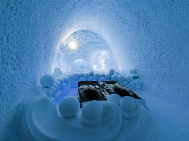 Bed in het ICEHOTEL in Zweden