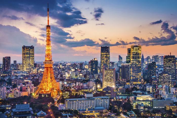 De skyline van Tokio