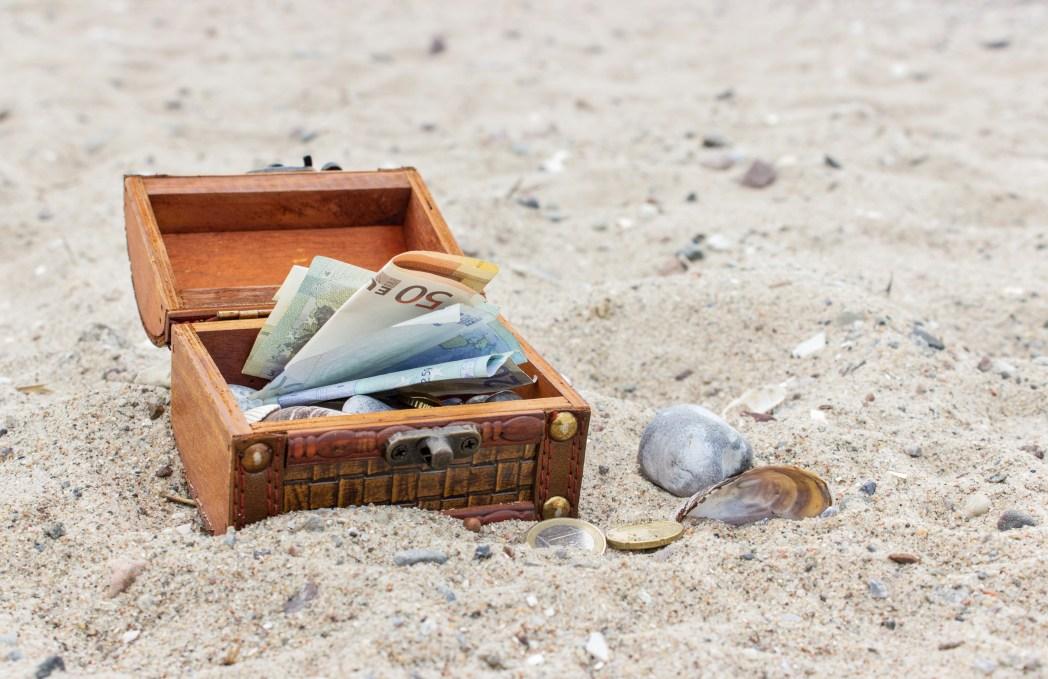 Geld, box, strand