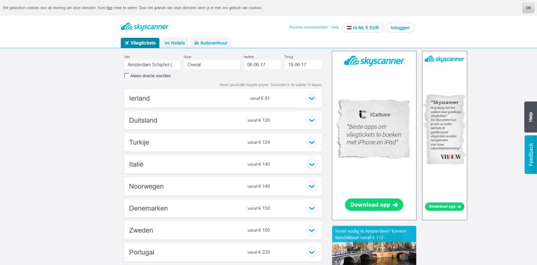 Skyscanner zoeken vliegtickets Overal