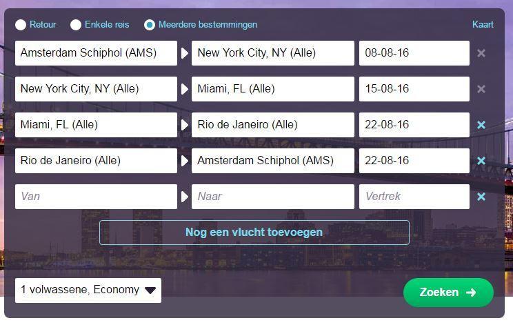 goedkope vliegtickets meerdere bestemmingen