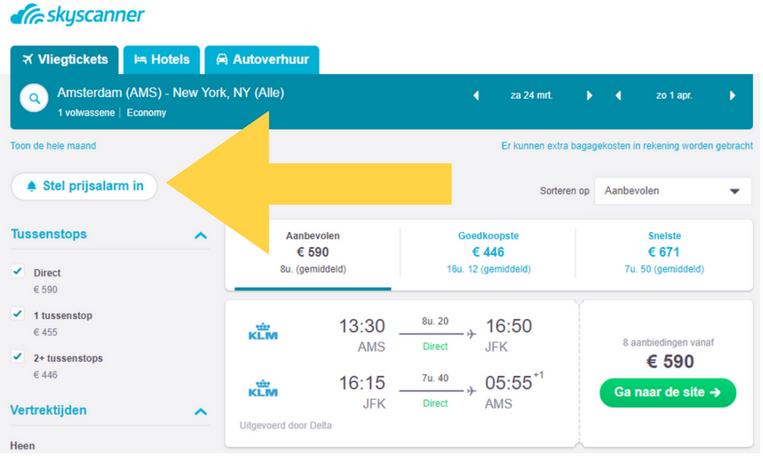 Skyscanners Prijsalarm goedkope vliegtickets