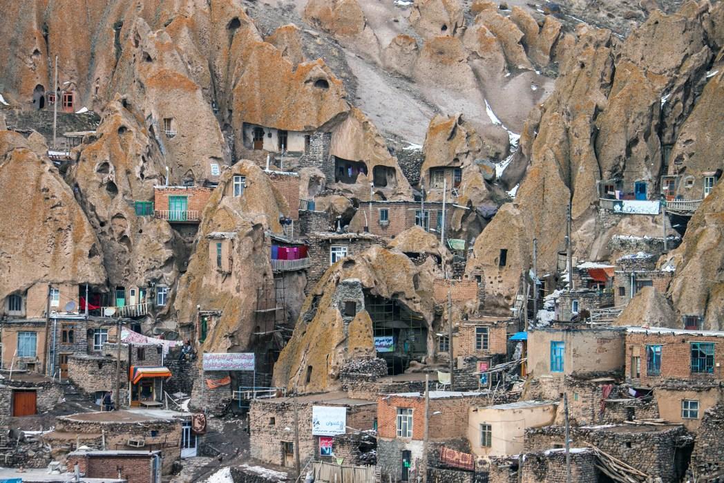 Grotwoningen in Kandovan, Iran